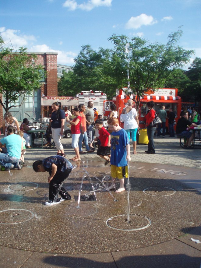 Children frolicking in the fountain is most likely just a daylight occurrence, but you never know.