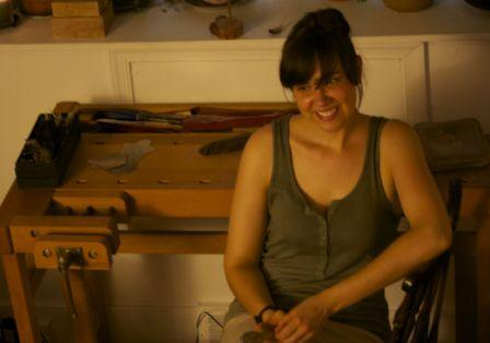 miriam at workbench